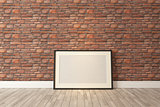 Black picture frames decor with red natural brick wall, backgrou