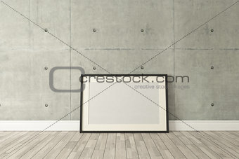 Black picture frames decor with concrete wall, background, templ