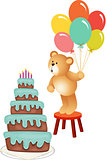Teddy bear blowing out Birthday candles