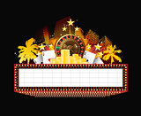 Brightly theater glowing retro casino neon sign