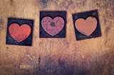 3 Wooden Letterpress Hearts