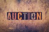 Auction Concept Wooden Letterpress Type