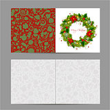 Christmas card, wreath for your design