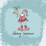 vector hand drawn Christmas illustration of Santa