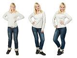 set of fashionable girls, isolated on white background