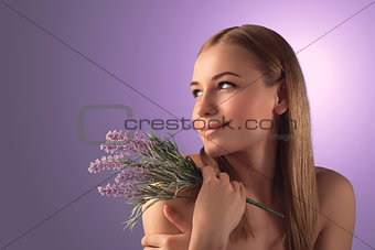 Beautiful woman with lavender