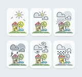 Set of Colored Weather Forecast icons