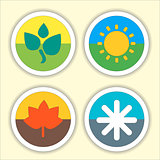 Four seasons flat thin icon set.