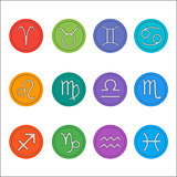Zodiac signs. Flat thin set of simple round zodiac icons on color background - for web and print. Horoscope Signs.