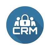 CRM Security Icon. Flat Design.