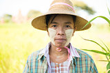 Traditional mature Asian female farmer