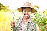 Traditional mature Burmese female farmer