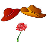 male and female hats and rose