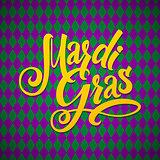 Mardi Gras Carnival Calligraphy Poster. Vector illustration Calligraphic Greeting card. Mardi Gras type treatment