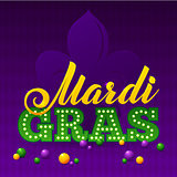 Mardi Gras Party Poster. Calligraphy and Typography Card. Beads and Fleur De Lis Symbol. Holiday poster or placard template