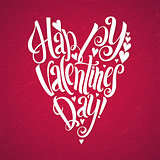 Happy Valentines Day lettering background Heart shape White Background