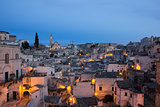 Evening view of the old town of Matera