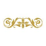 Gold glitter swirl, vintage ornament