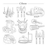 Cheese and Cutting Tools. Sketch Vector Illustration Set.