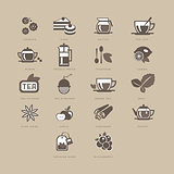 Tea and Spices Flat Icon Set