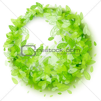 Green leaves round frame