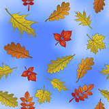 Autumn leaves on sky, seamless