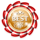 Gold best offer badge with red ribbon