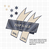 Top Sale paper banner. Sale background. Sale tag.