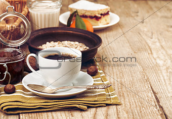 Cup coffee breakfast rustic style