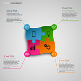 Info graphic with colored puzzle design template
