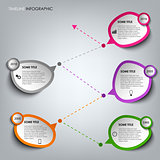 Time line info graphic with colored design stickers template