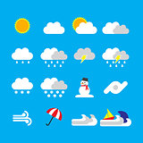 weather icon flat style on blue background