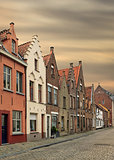 Bruges historical pitched roofs and spiers