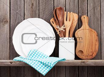 Kitchen cooking utensils on shelf