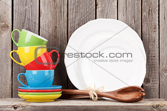 Kitchen utensils on shelf