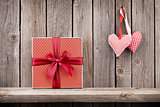 Two Valentines day hearts and gift box
