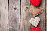Valentines day toy hearts on wood