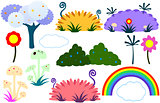 Flat Tree Flower Plants Rainbow Cloud