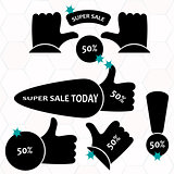 Super Sale paper banner. Sale background.