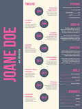 Pink gray modern resume cv template design