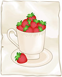 Cup full of fresh strawberries on background