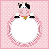 Cute cow in round frame background