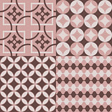 Seamlessly retro patterns pink and brown