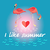 Background with flamingos and a slogan about summer
