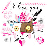 postcard in love with a cat