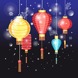 Chinese red lanterns holidays