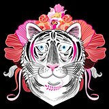 graphic decorative portrait of a tiger