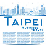 Outline Taipei skyline with blue landmarks and copy space