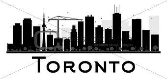 Toronto City skyline black and white silhouette
