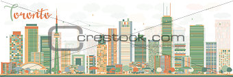Abstract Toronto skyline with color buildings.